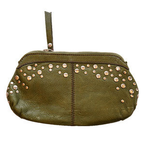 GENUINE FOSSIL STUDDED LEATHER WALLET GREEN